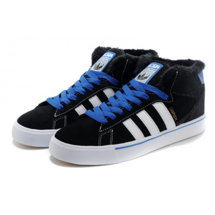 Кроссовки Adidas Neo Skateboarding, черный с синими шнурками